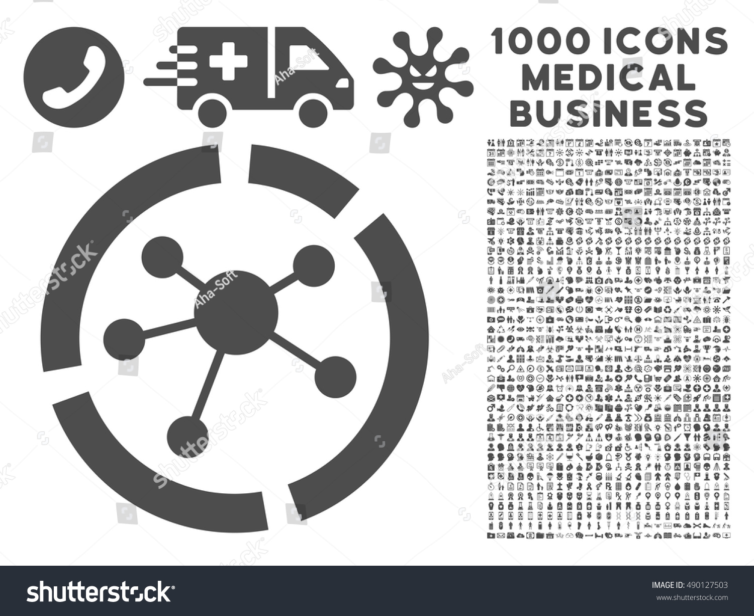 Gray Connections Diagram Icon 1000 Medical Stock Vector (Royalty ...
