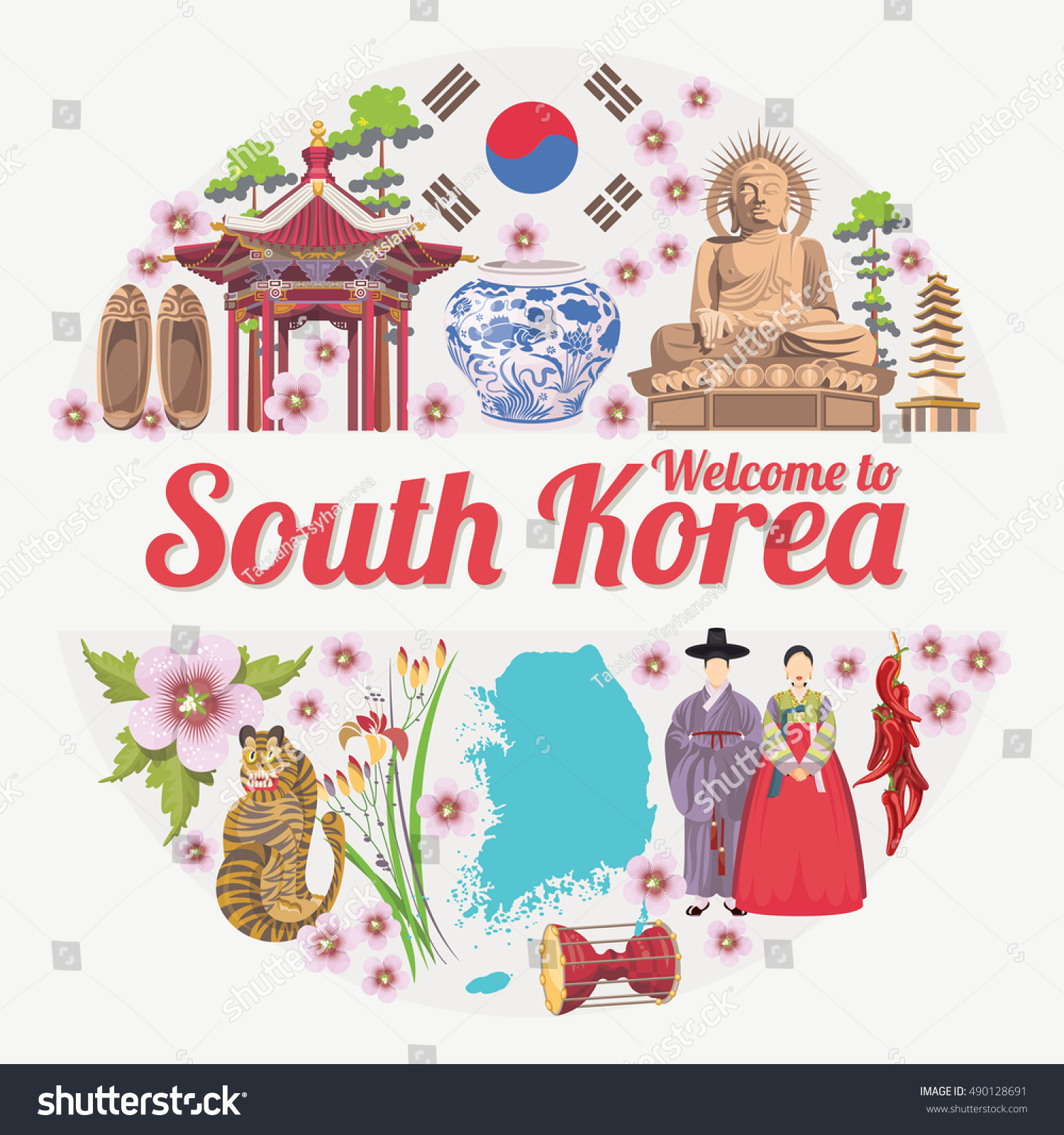 Korean poster design - South Korea Travel Vector Poster With Korean Traditional Objects Korea Journey Card In Vintage Style