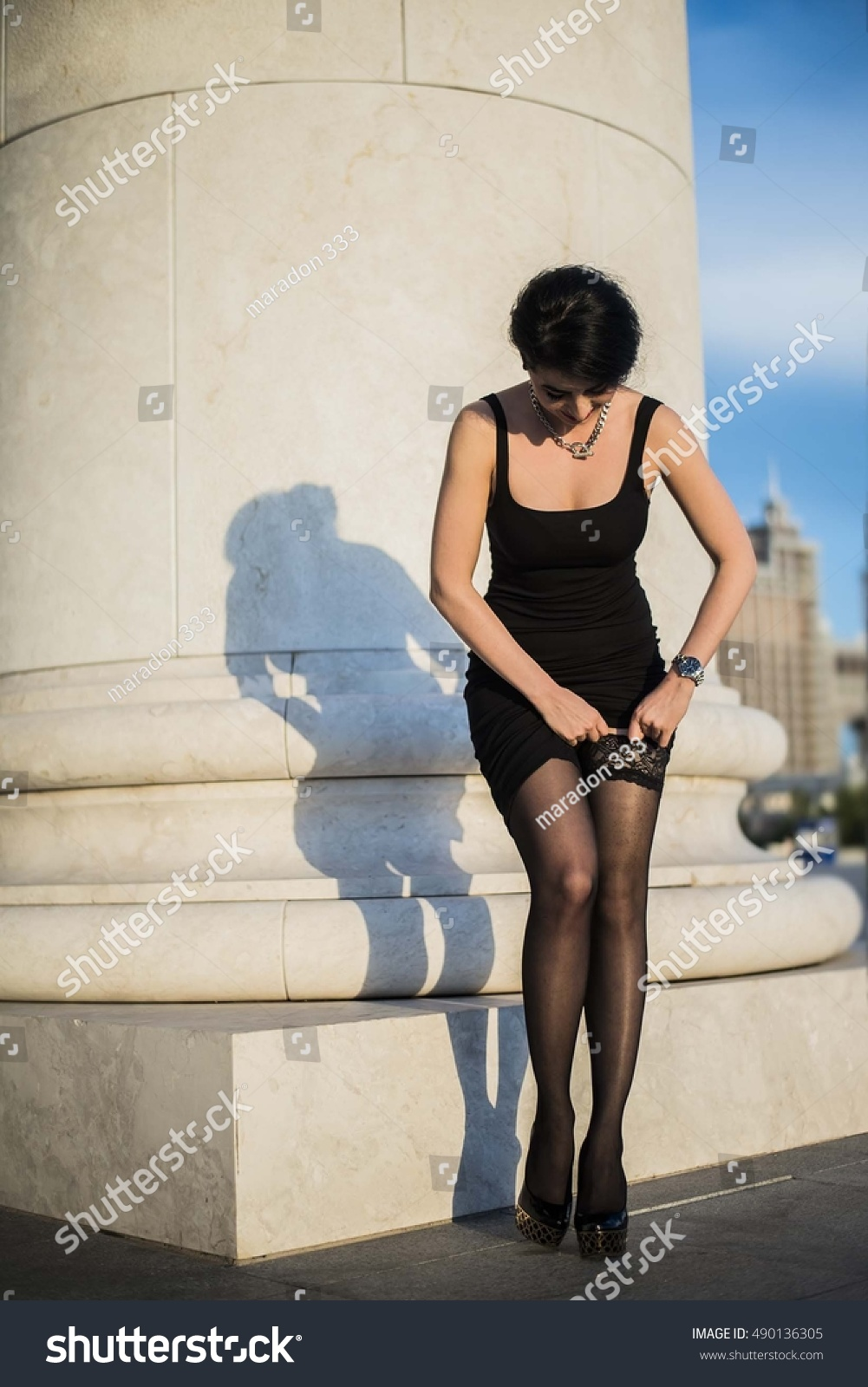 aa22d9d15d6 sexy legs with short black skirt. sexual full length asian woman tightens  nylon lace tights. Slim long legs. fatal young female wear dark clothes -  Image