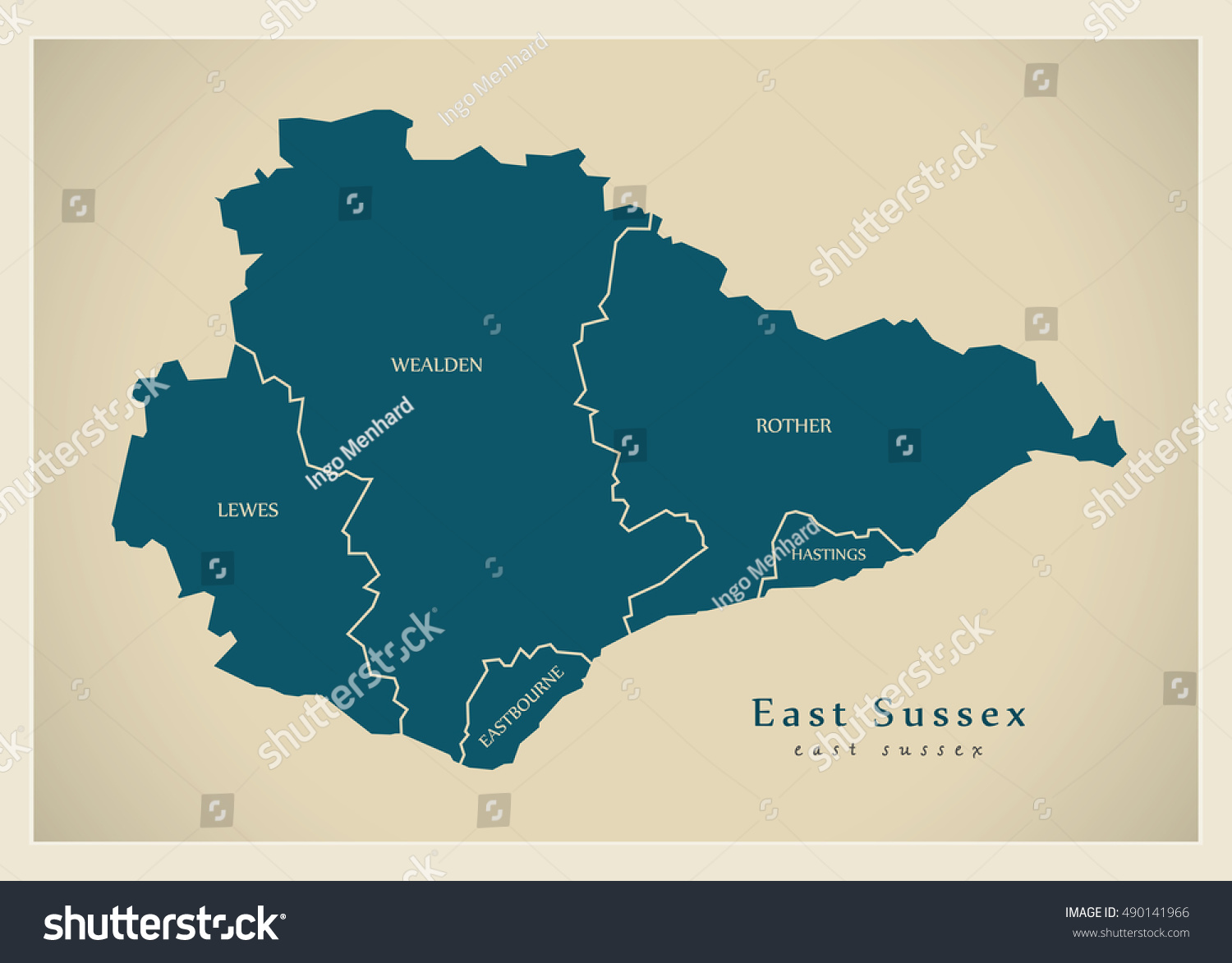 Modern Map East Sussex County Districts Stock Vector Royalty Free