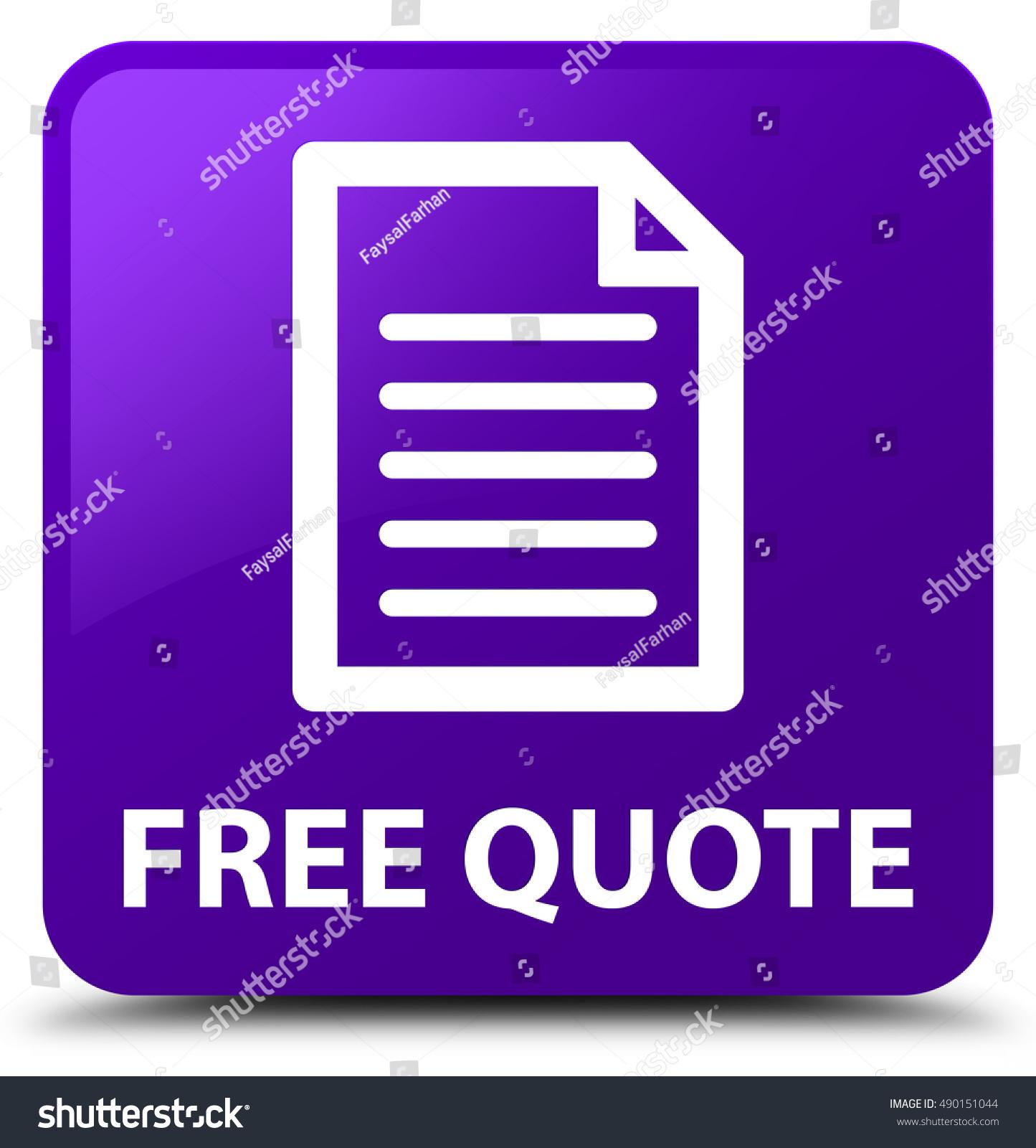 Free Qoute Free Quote Page Icon Purple Square Stock Illustration 490151044