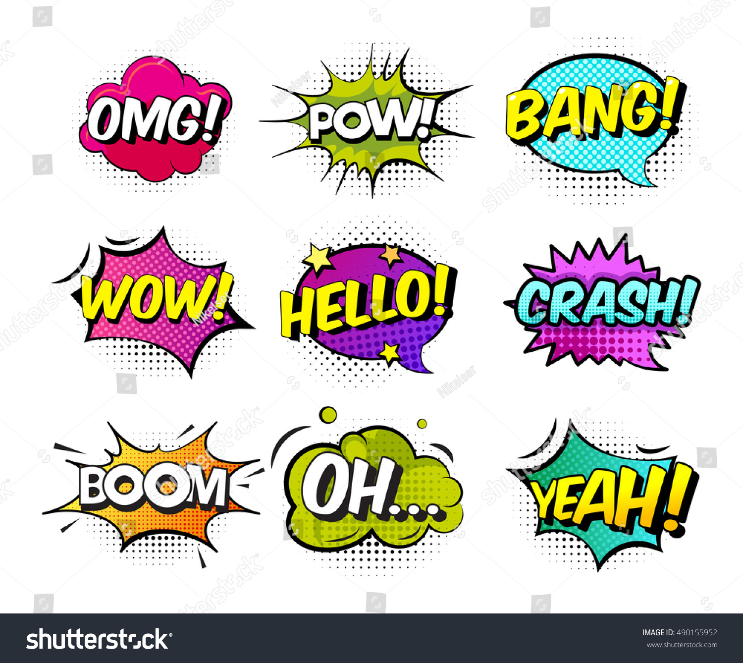 Collection of nine multicolored comic sound effects in pop art vector style Bubble speech with word and cartoon halftone expression illustration