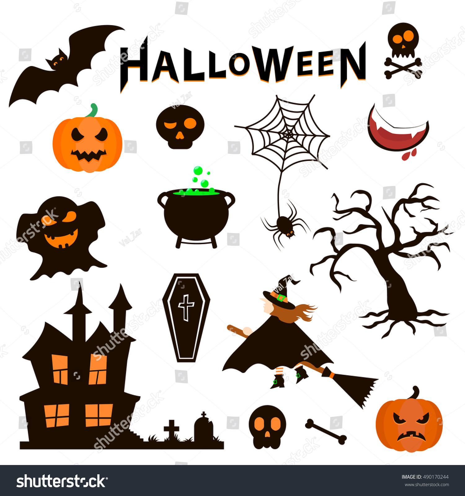 Set Halloween Icons On White Background Stock Vector Royalty Free