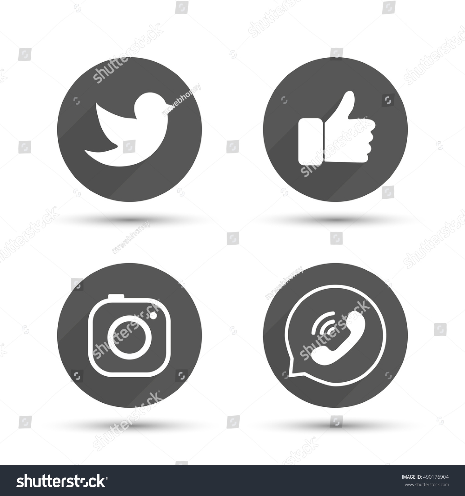 Flat designed vector icons of hipster camera, like hand symbol, thumbs up, bird and phone for social media, interfaces, websites vector illustration #490176904