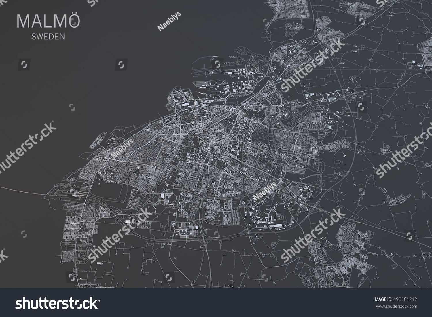Malmo Map Satellite View City Sweden Stock Illustration - Sweden map satellite