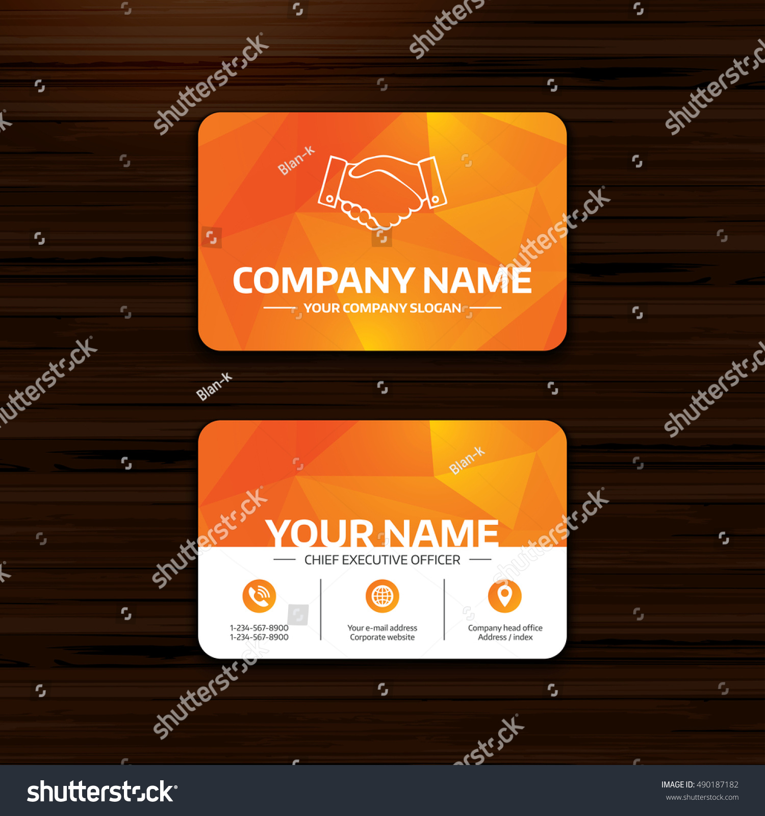 Business Visiting Card Template Handshake Sign Stock Vector ...