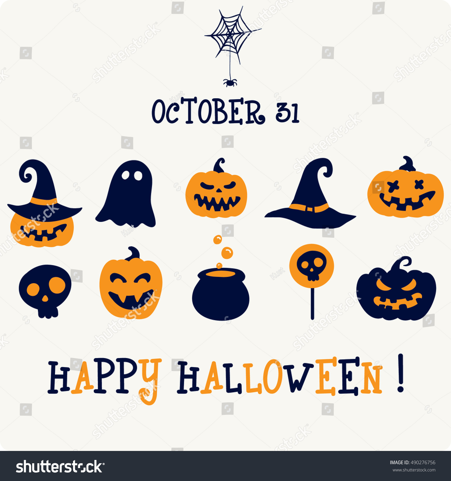 Orange Black And Purple Halloween Symbols Icon And Characters For
