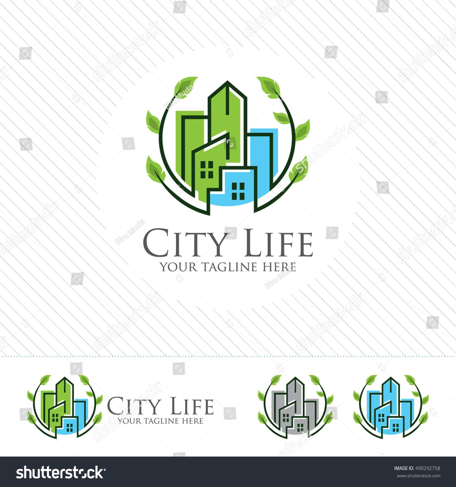 Abstract Green City Building Logo Design Stock Vector