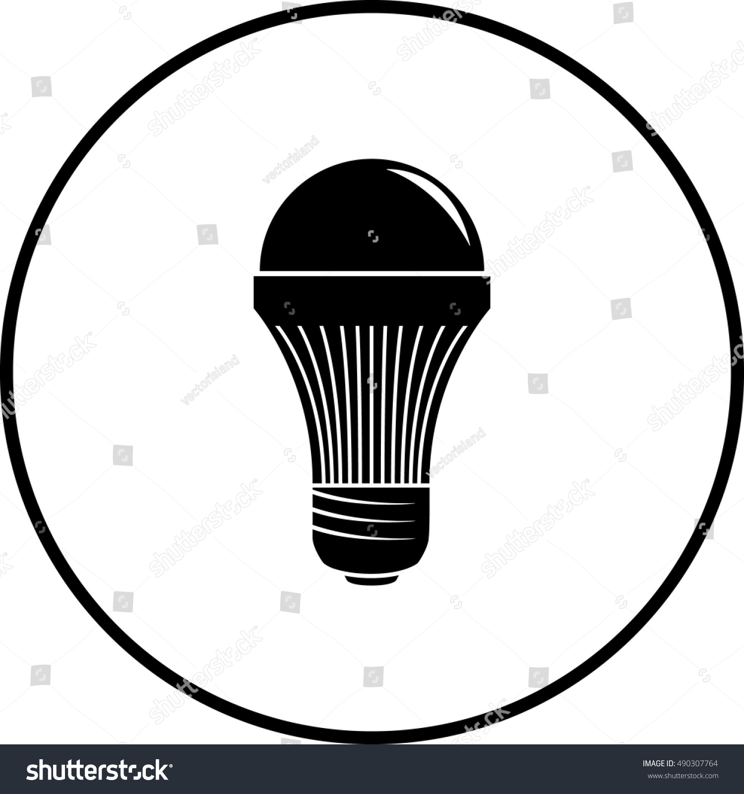 Led Light Bulb Symbol Stock Vector 490307764 - Shutterstock