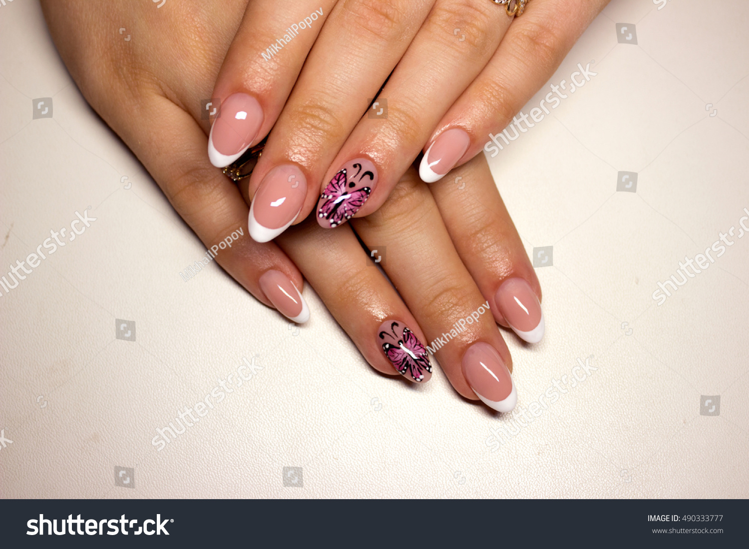 Beautiful Womans Nails Beautiful French Manicure Stock Photo ...