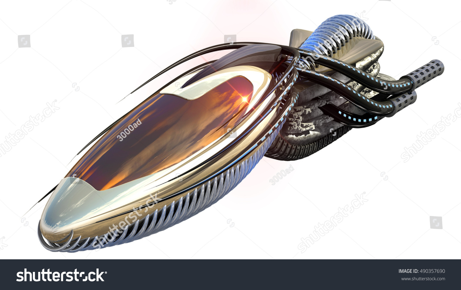 3D Illustration Of Organic Drone Design Or Alien Spacecraft For Science Fiction Themes Fantasy War