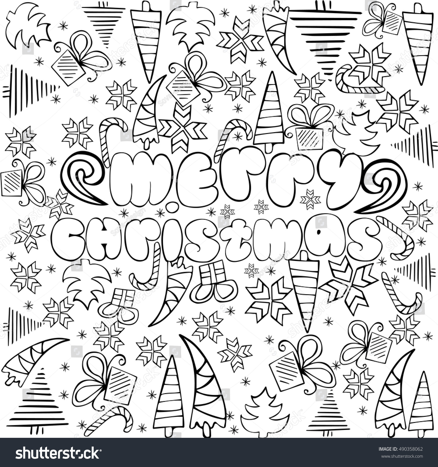 Merry Christmas Sign With Themed Doodle Sketchy Illustration Anti Stress Coloring Page