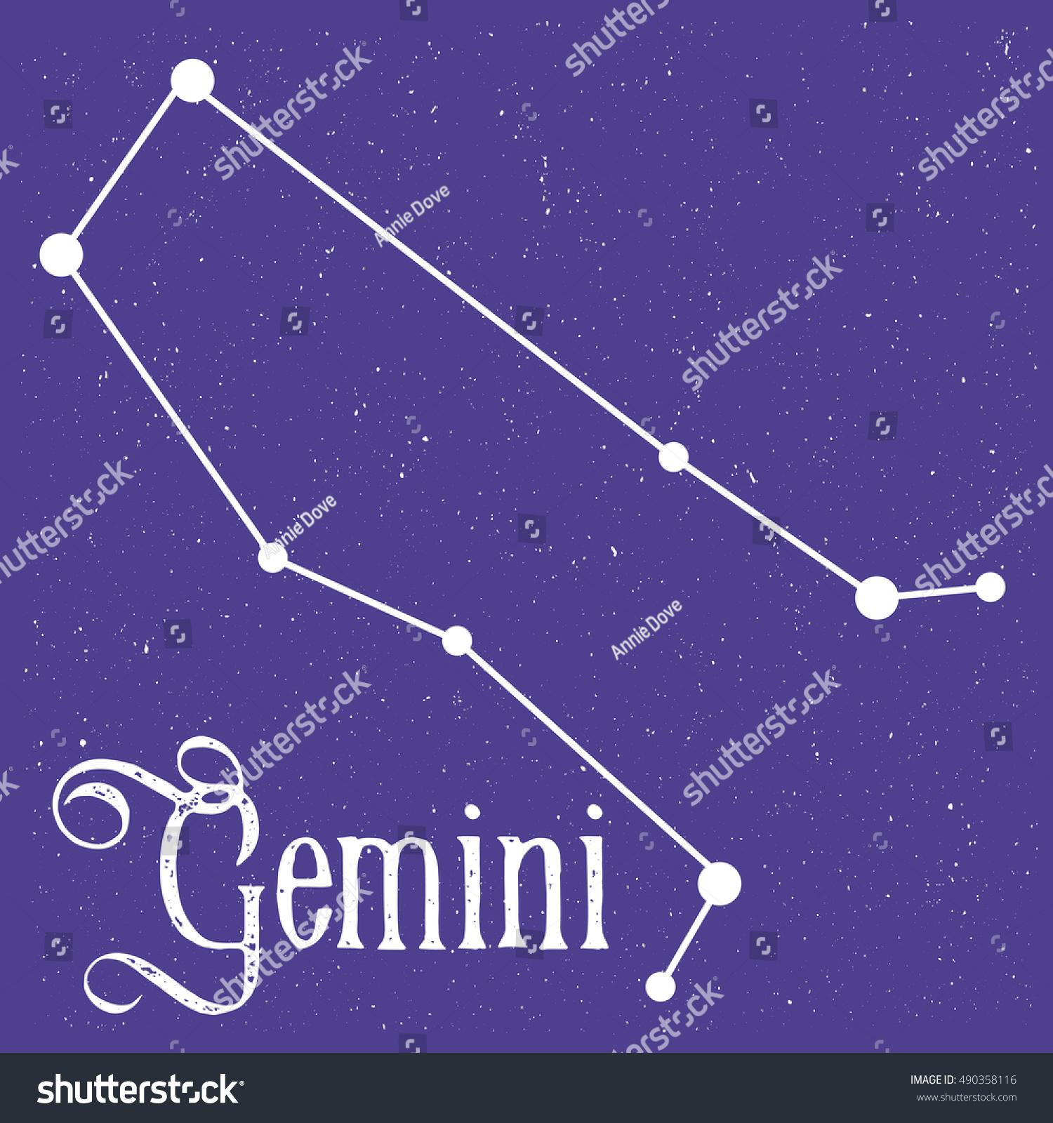 Vector linear illustration zodiac sign gemini stock vector vector linear illustration of the zodiac sign gemini with text gemini and symbol from stars at buycottarizona