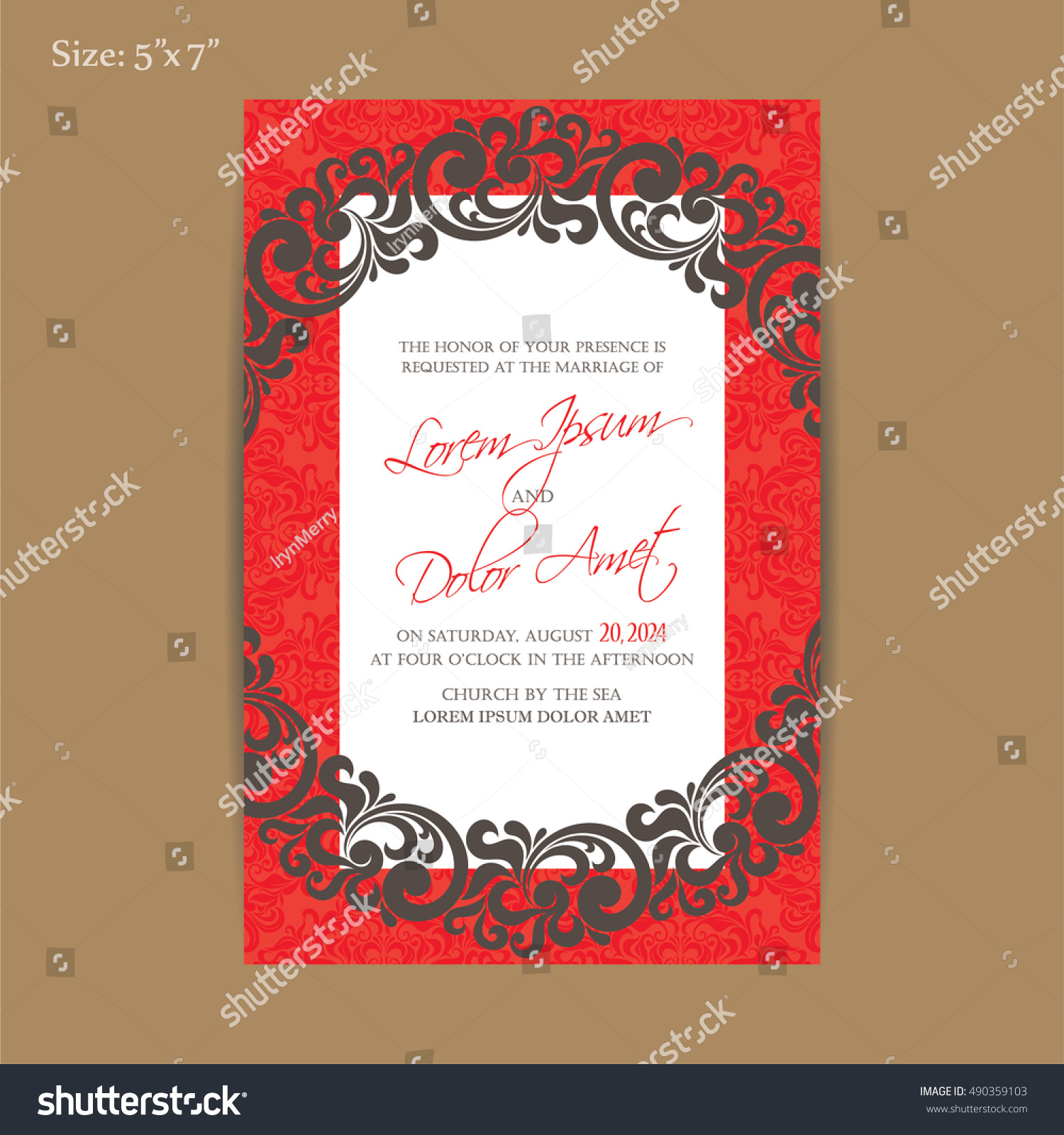 Luxury Red Vintage Wedding Invitation Card Stock Vector (Royalty ...