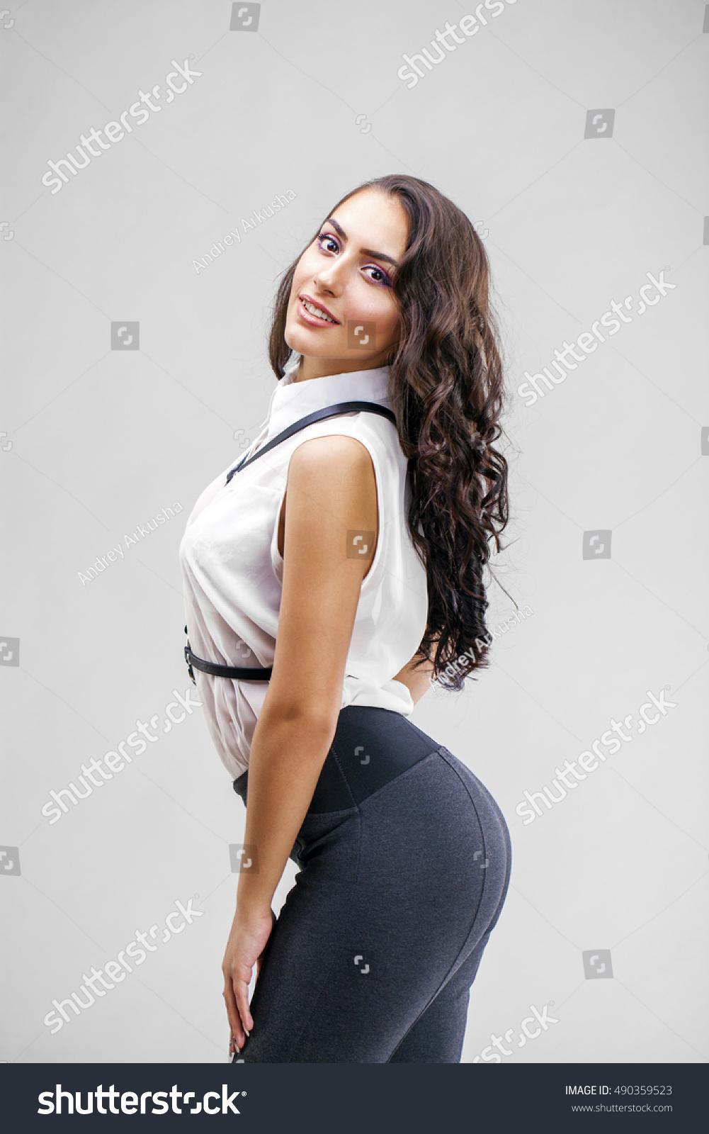 young arabic woman white sexy dress stock photo (royalty free