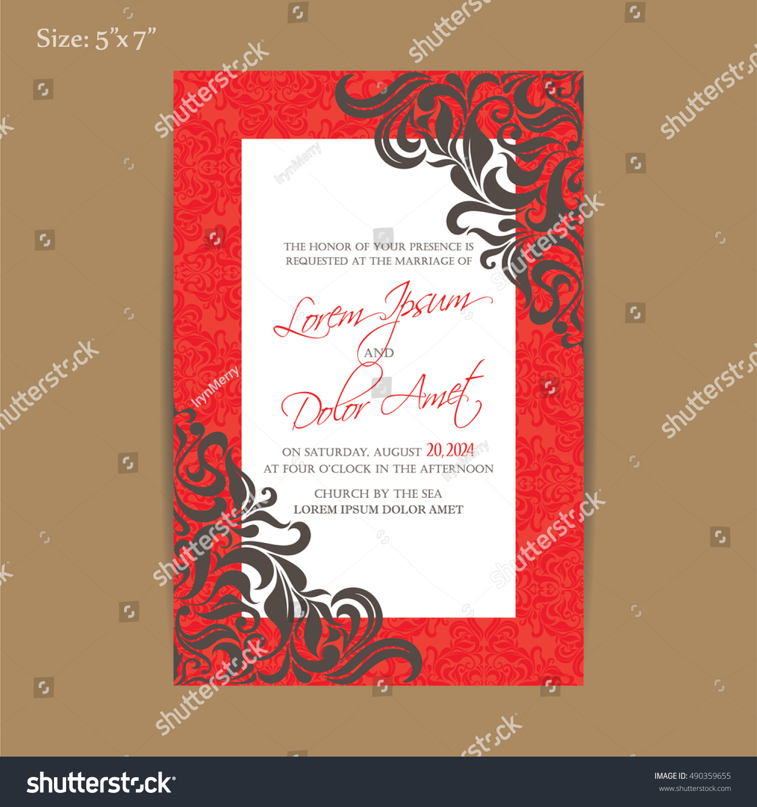 Luxury Red Vintage Wedding Invitation Card Stock Vector 490359655 ...