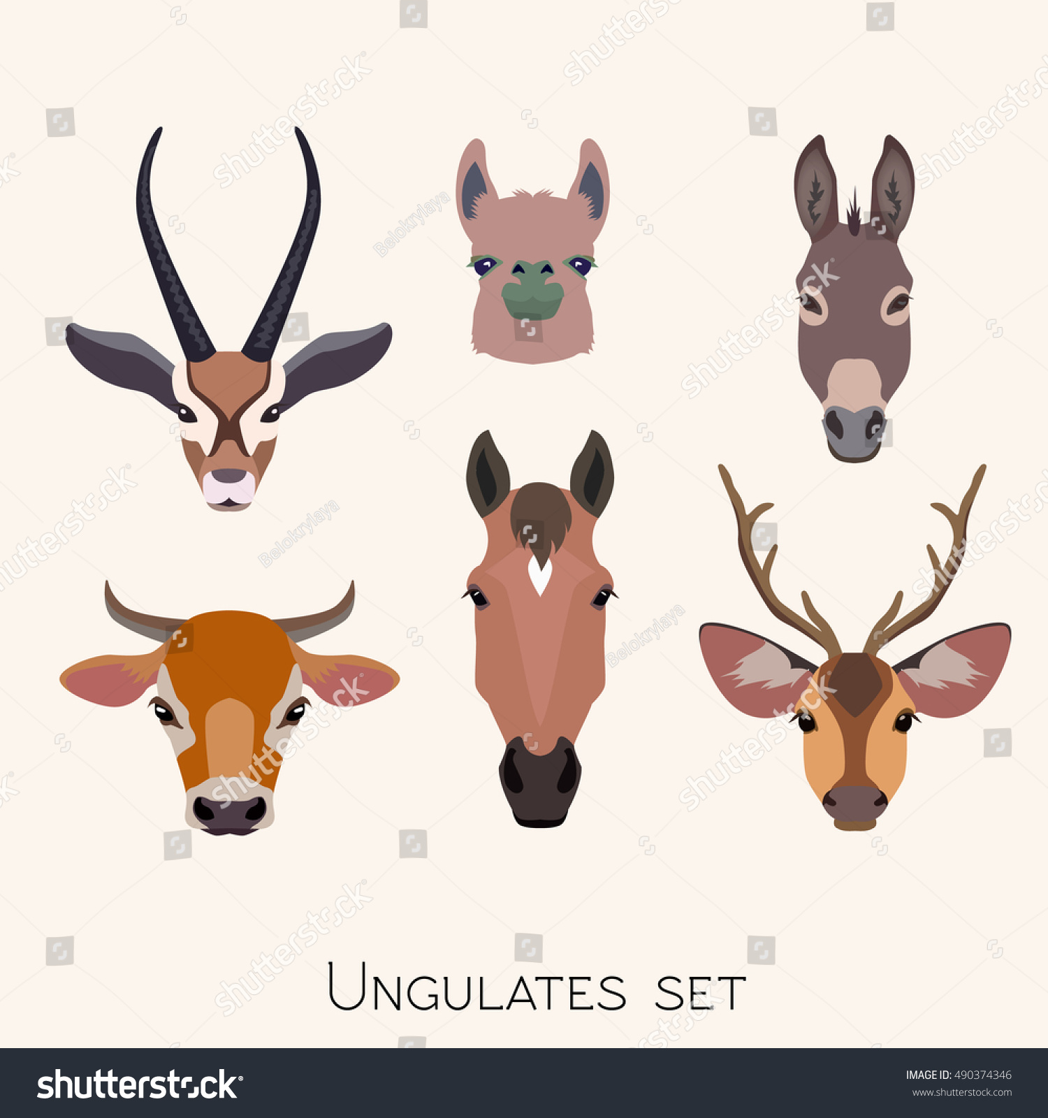 vector ungulates cloven hoofed animals head stock vector 490374346