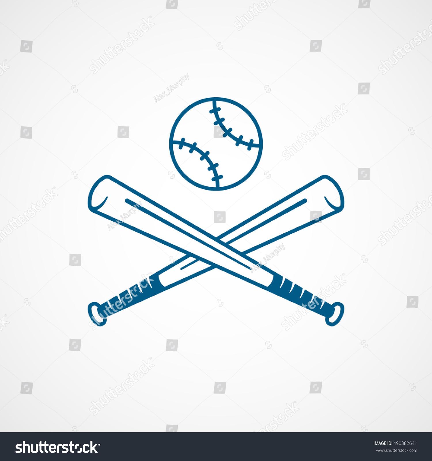 baseball bat cross blue line icon stock vector 490382641