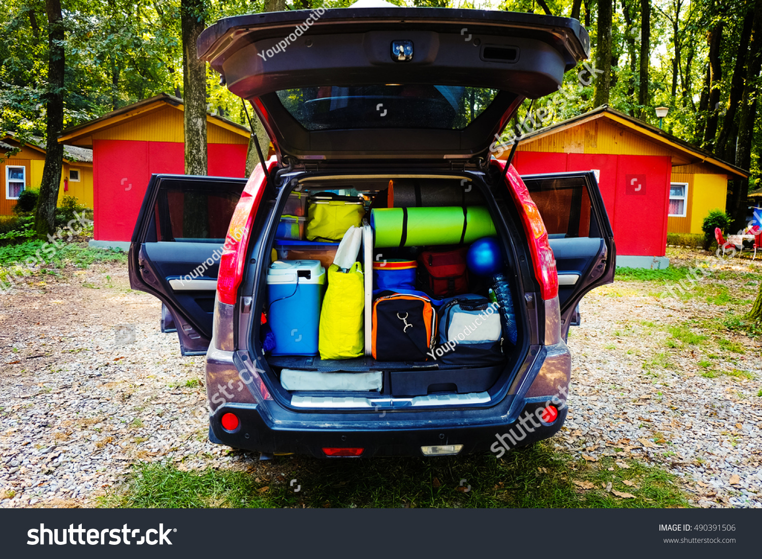 Travel Car Camping Luggage Packed Full Stock Photo ...