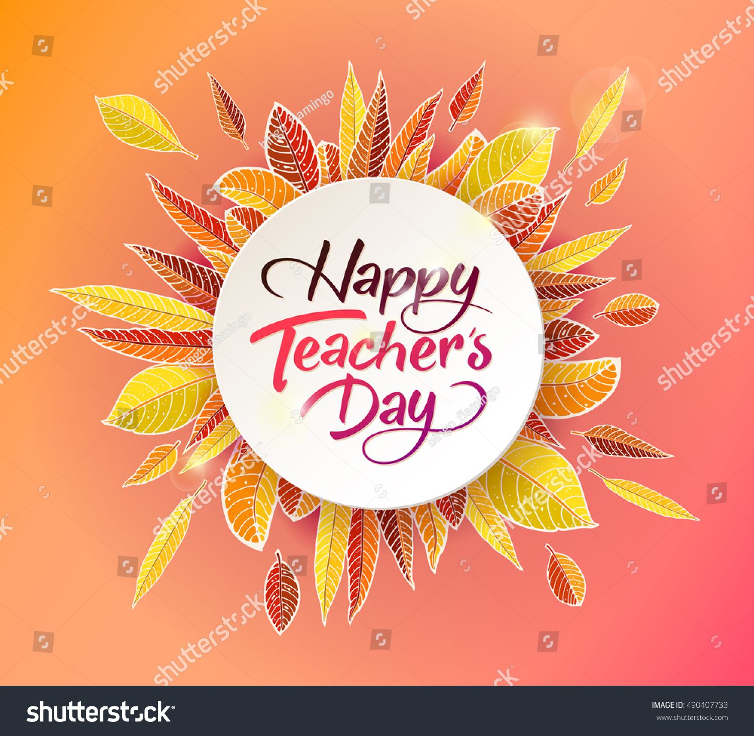Happy teachers day vector lettering typography stock vector happy teachers day vector lettering typography design with autumn leaves for greeting card or kristyandbryce Choice Image
