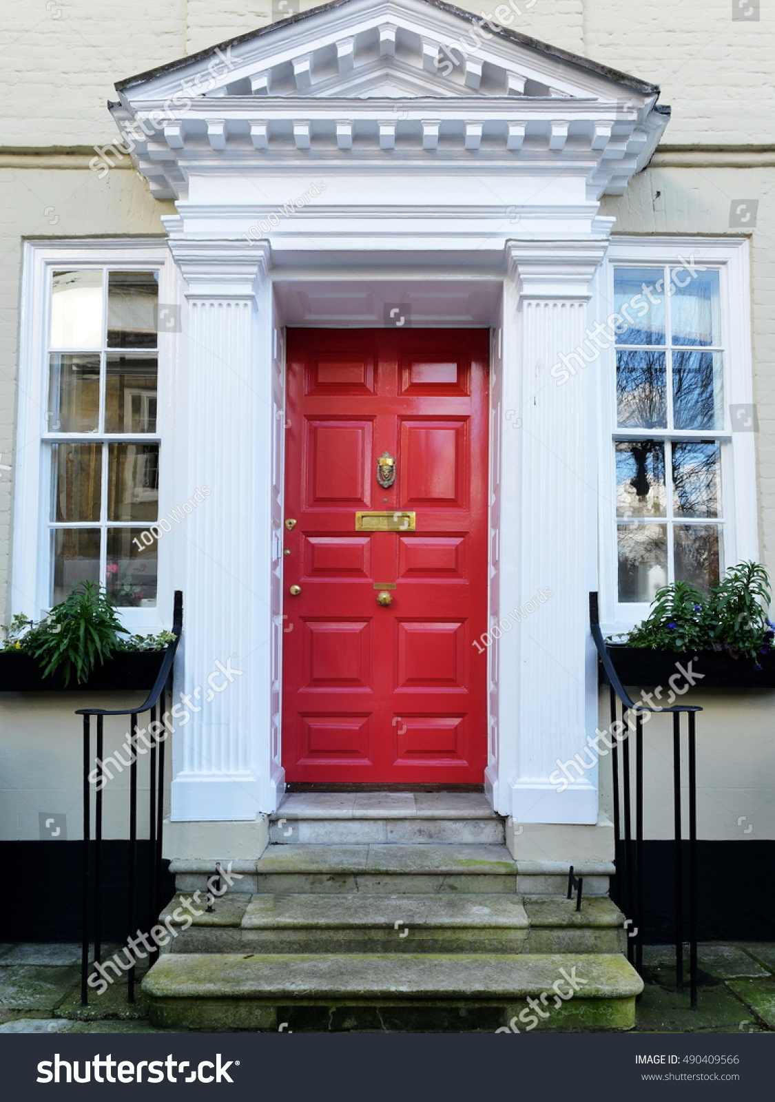 Red Front Door Attractive Old London Stock Photo 490409566 ...