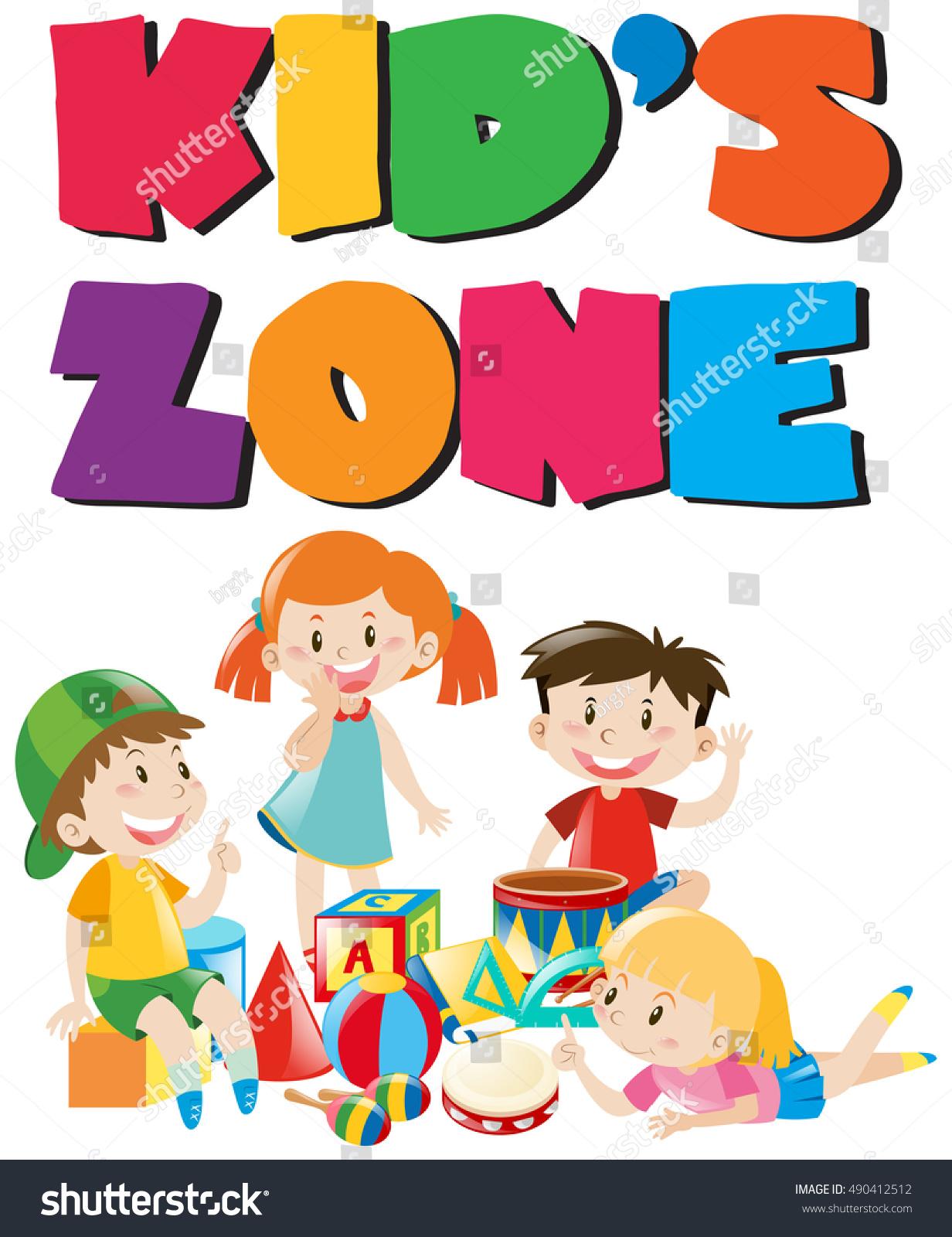Kids Zone Poster Kids Toys Illustration Stock Vector