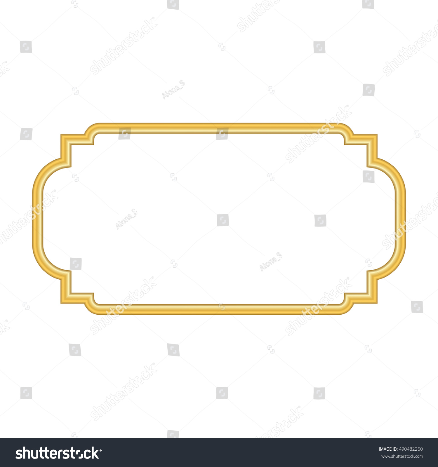 Gold Frame Beautiful Simple Golden Design Vintage Decorative Border Isolated On White Background