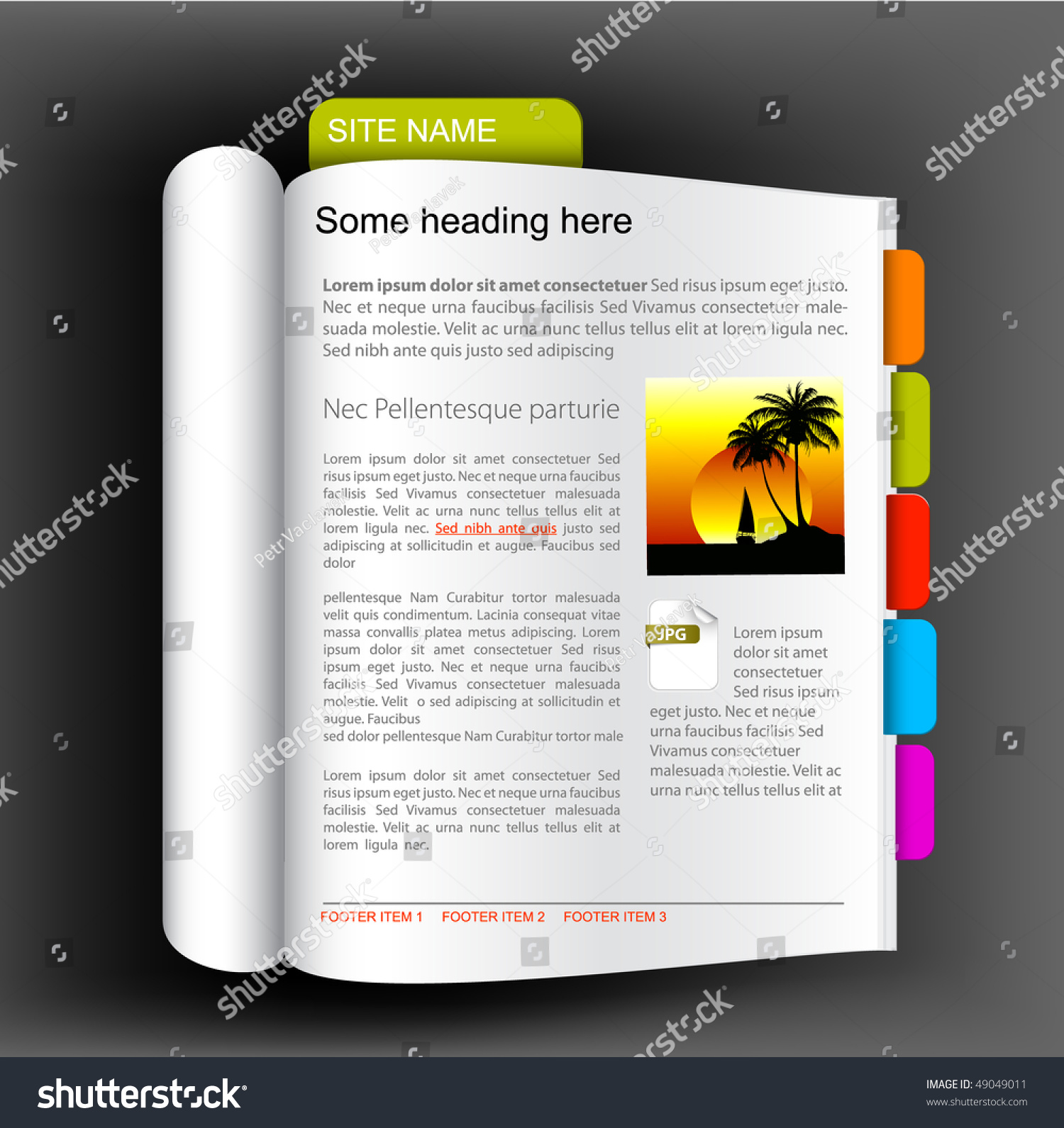 web site template open book colorful stock vector royalty free