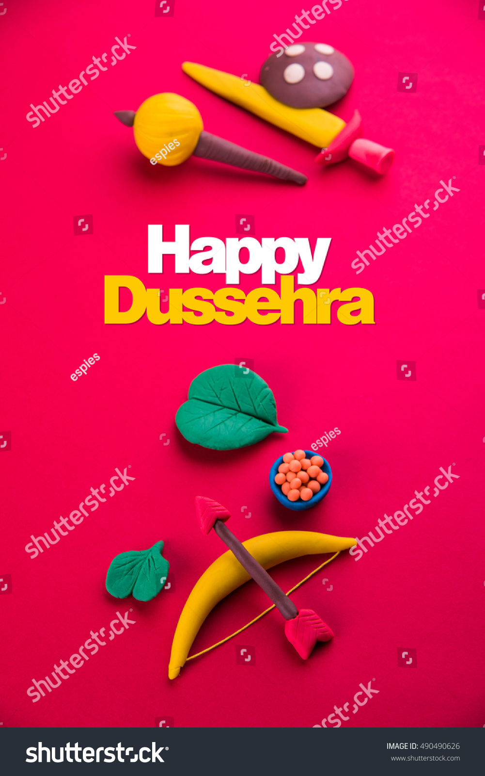Royalty Free Happy Dussehra Ayudh Puja Greeting 490490626 Stock