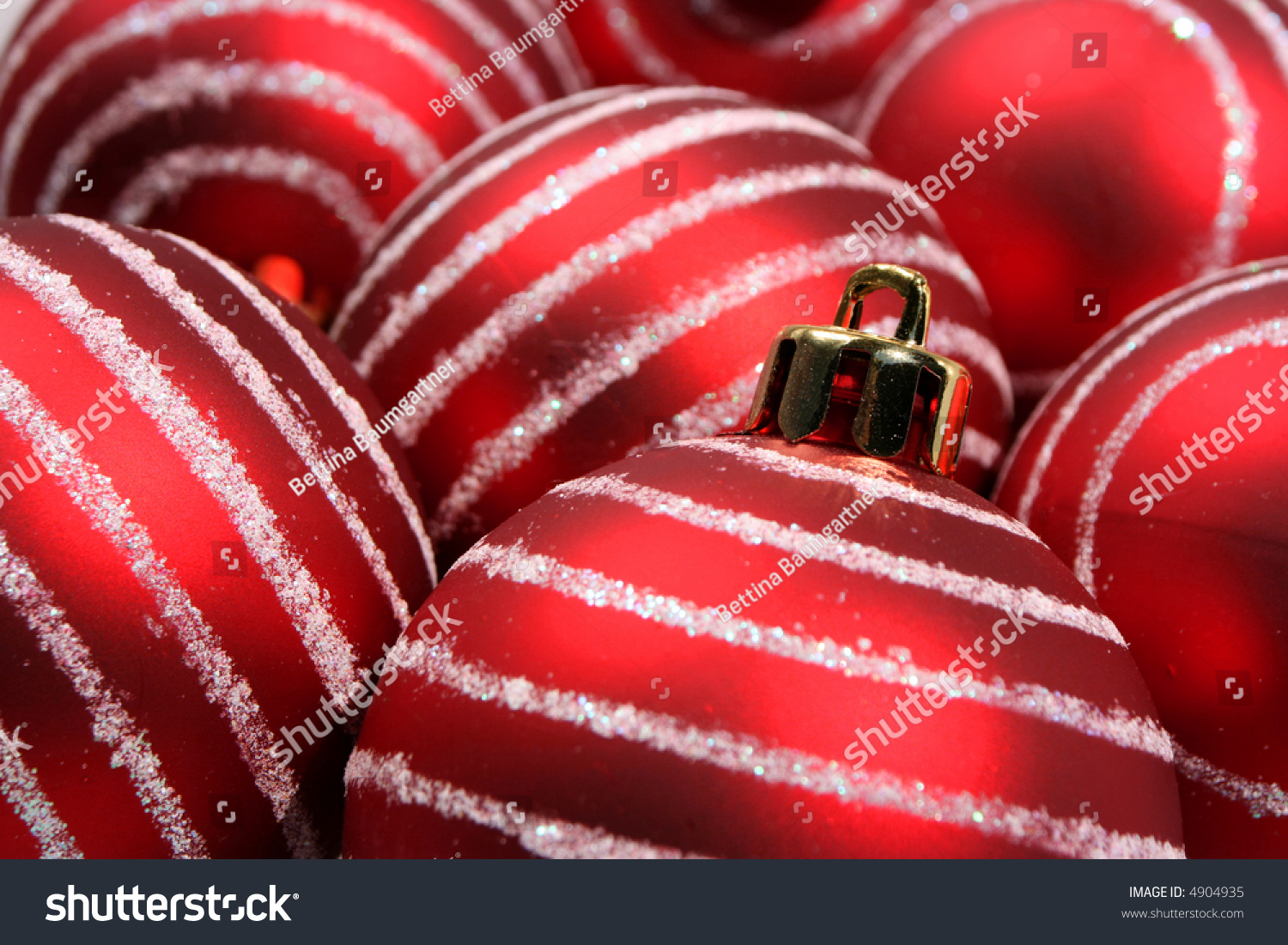 Red And Silver Striped Christmas Ornaments