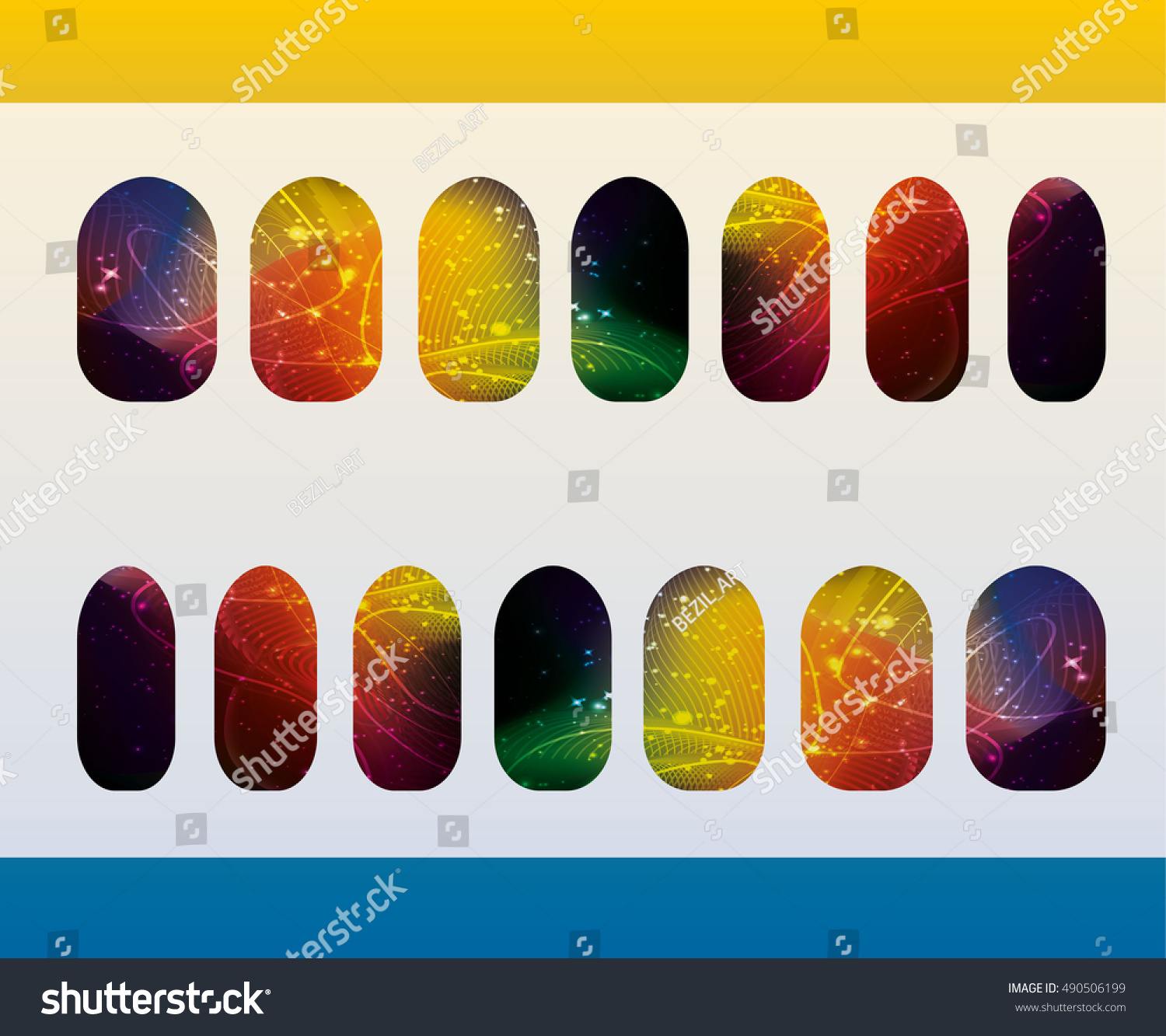Nail Art Color Templates Glowing Glitter Stock Vector 490506199 ...