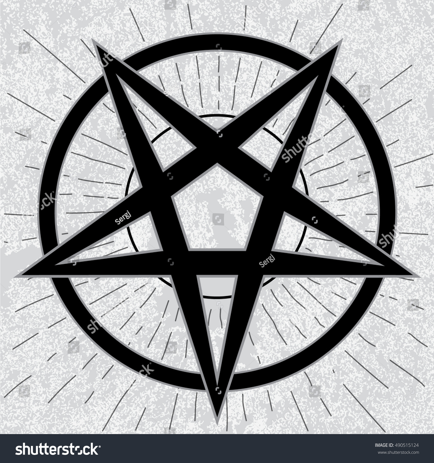 Baphomet Sign Stylish Pentagram Star Rays Stock Vector Royalty Free