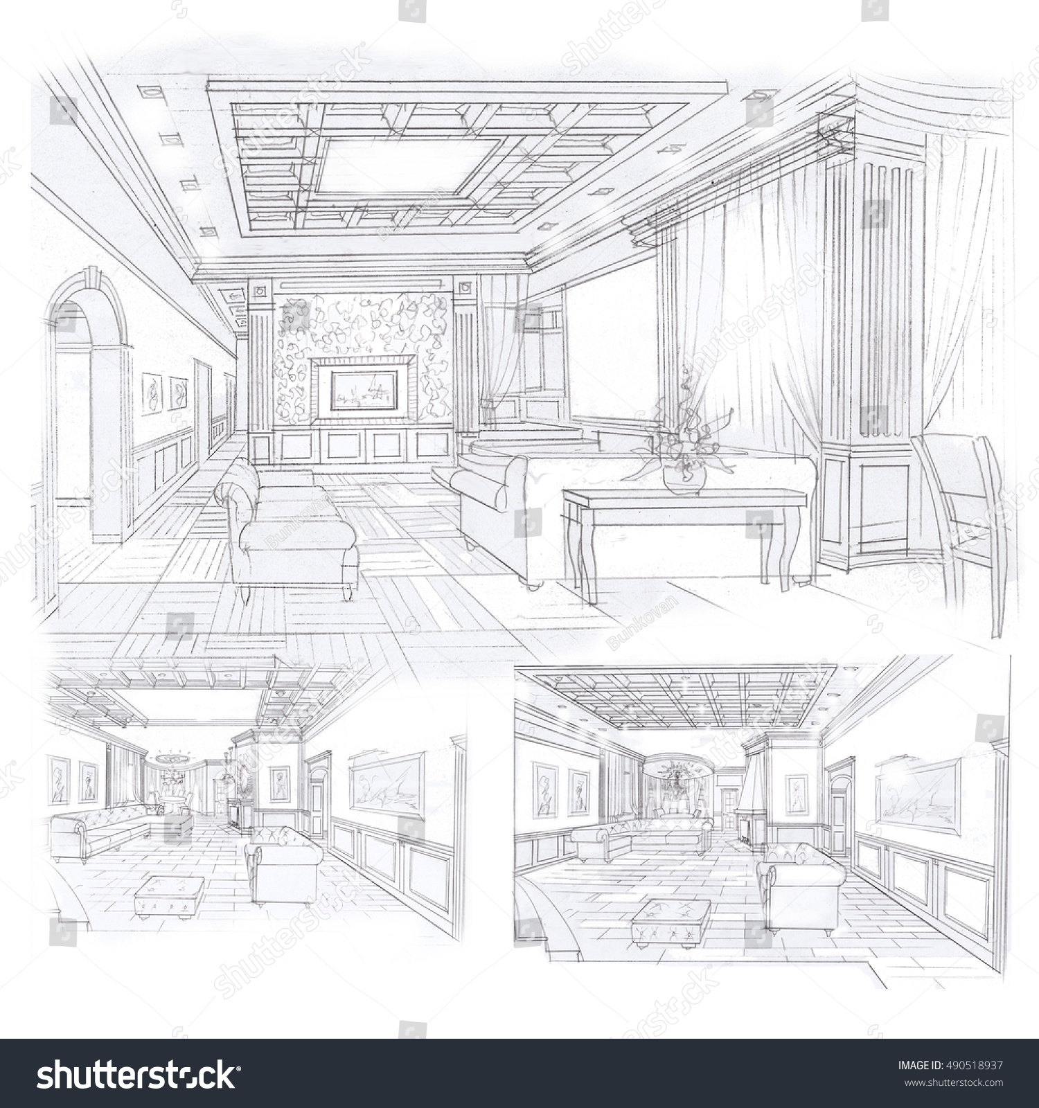 Sketches Interior Living Room Dining Room Options Handmade Stock