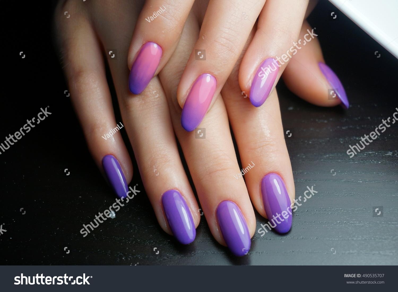 Natural Nails Lilac Color Beautifully Made Stock Photo (Royalty Free ...