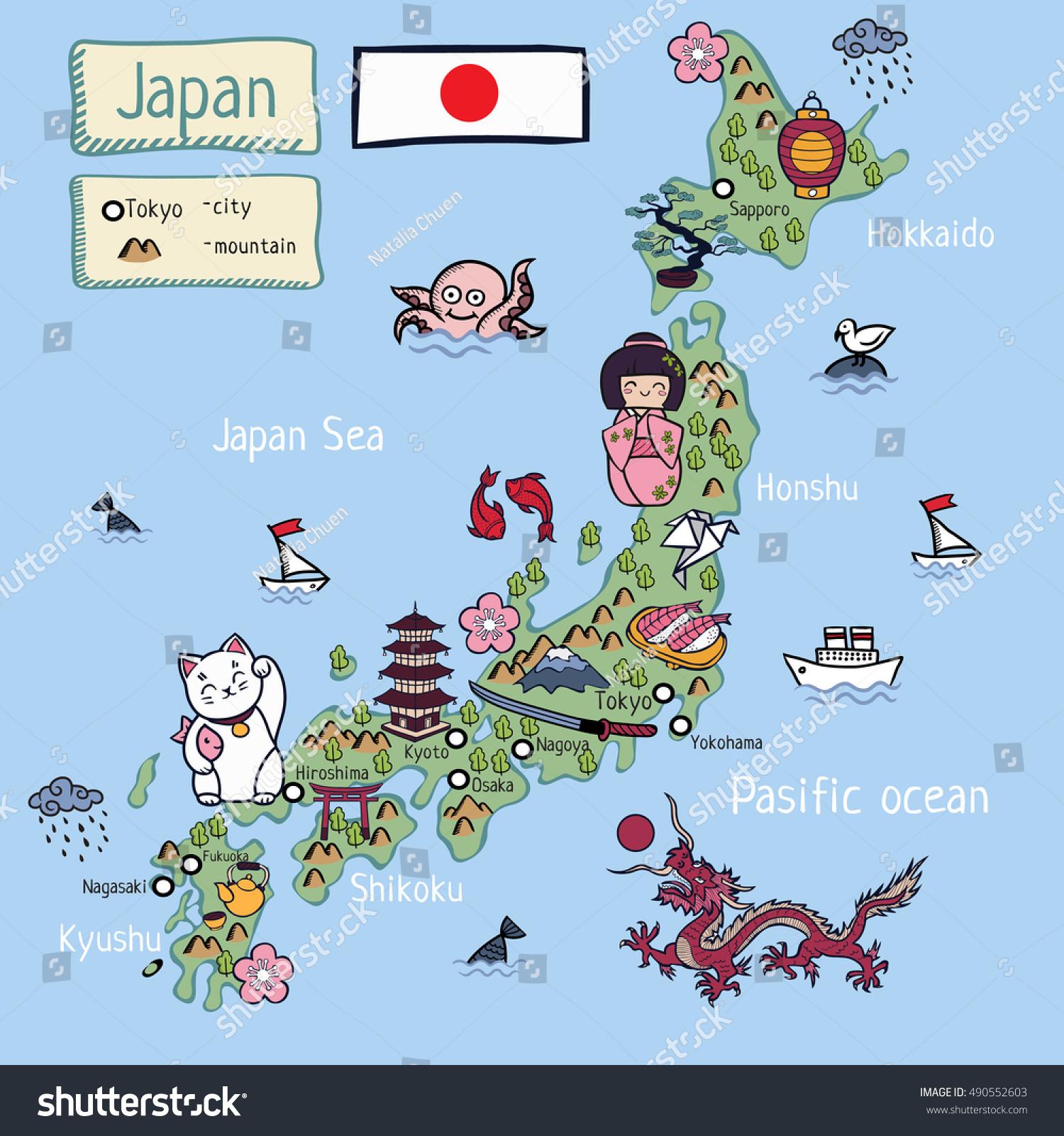 Cartoon Map Japan All Object Isolated Stock Vector