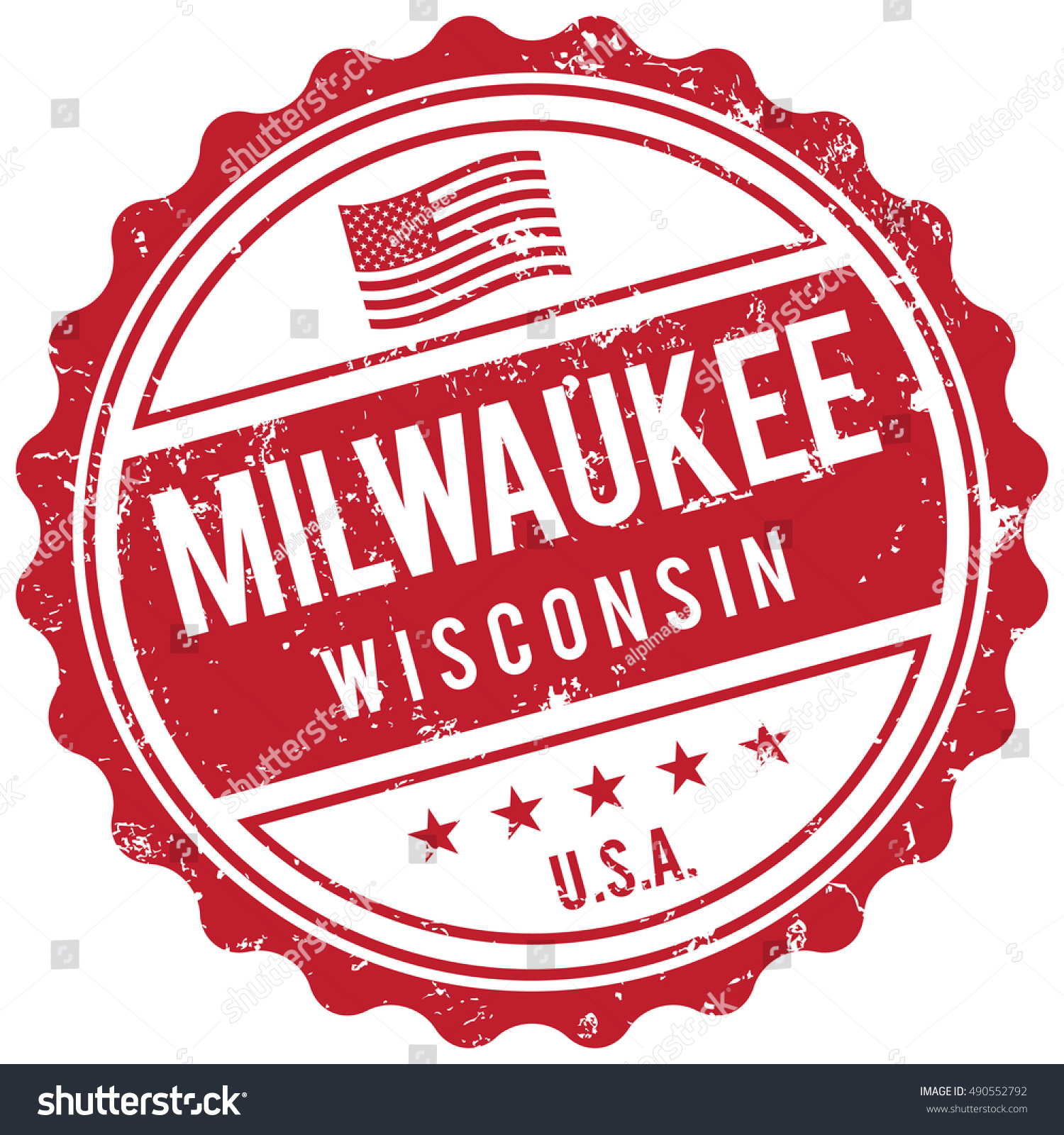 Milwaukee Wisconsin Stamp Stock Vector Royalty Free 490552792