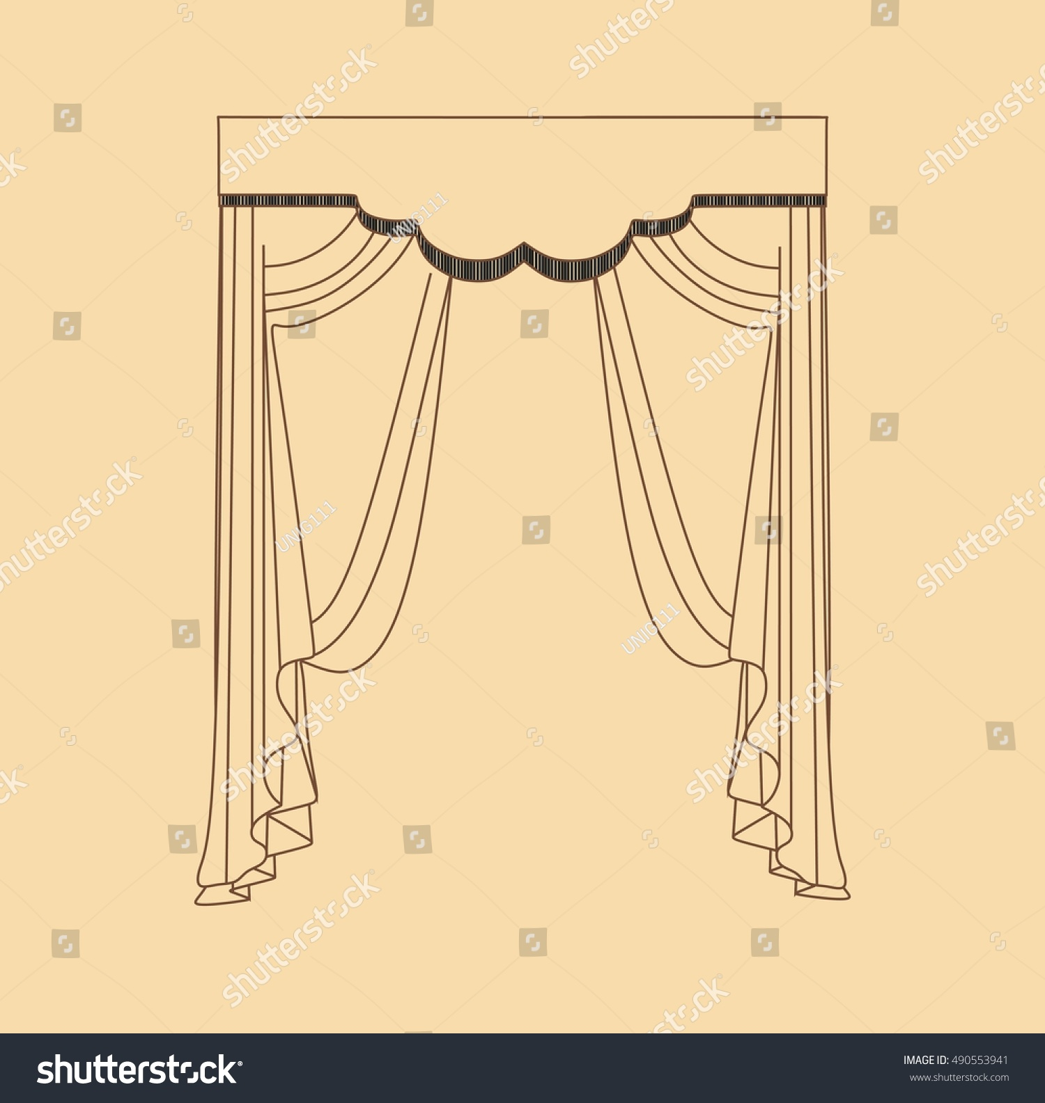Interior Decoration Textiles Sketch Curtains Stock Vector ...