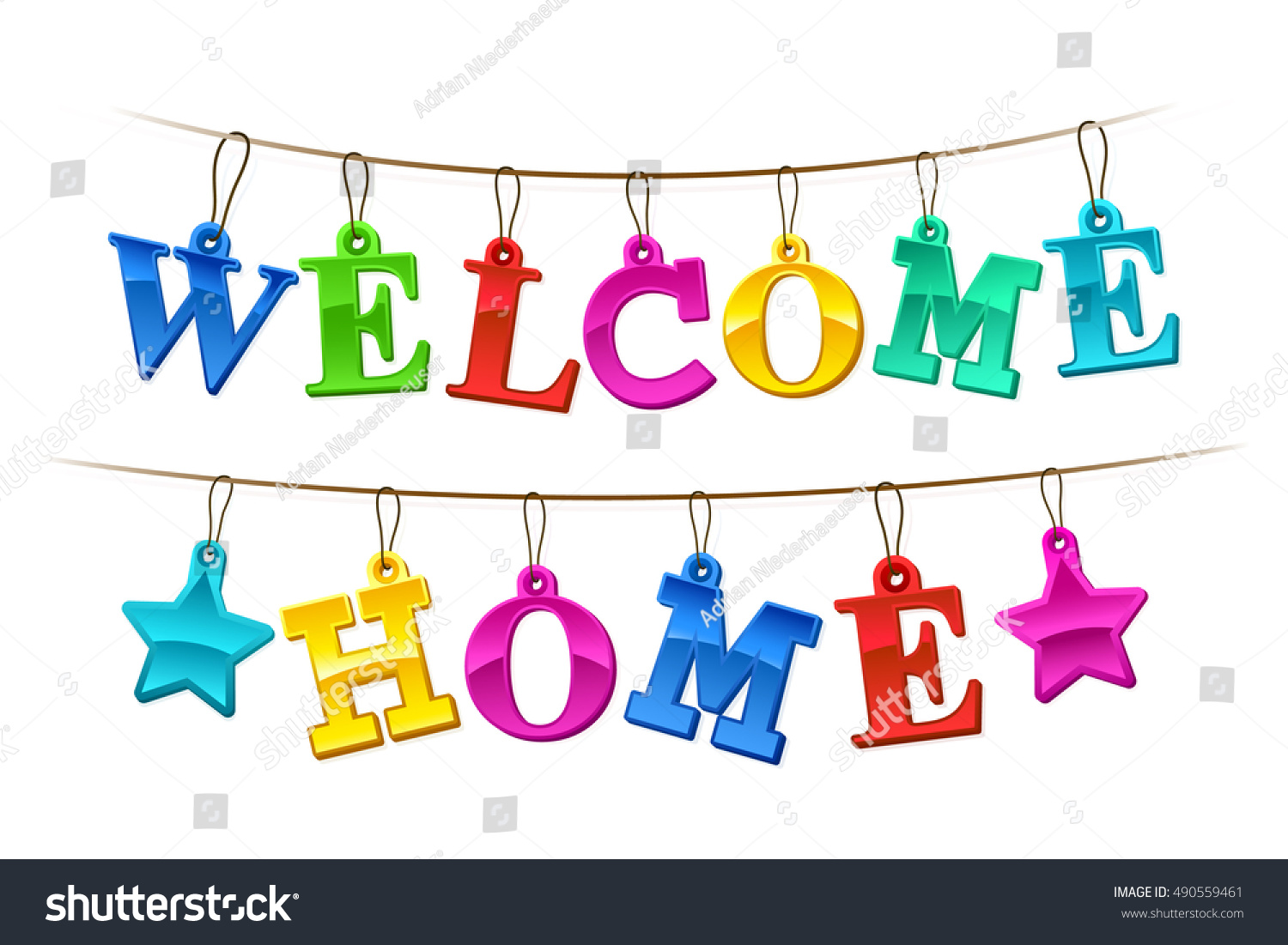Colorful Welcome Home Banner Letters Design Stock Vector 490559461 ...