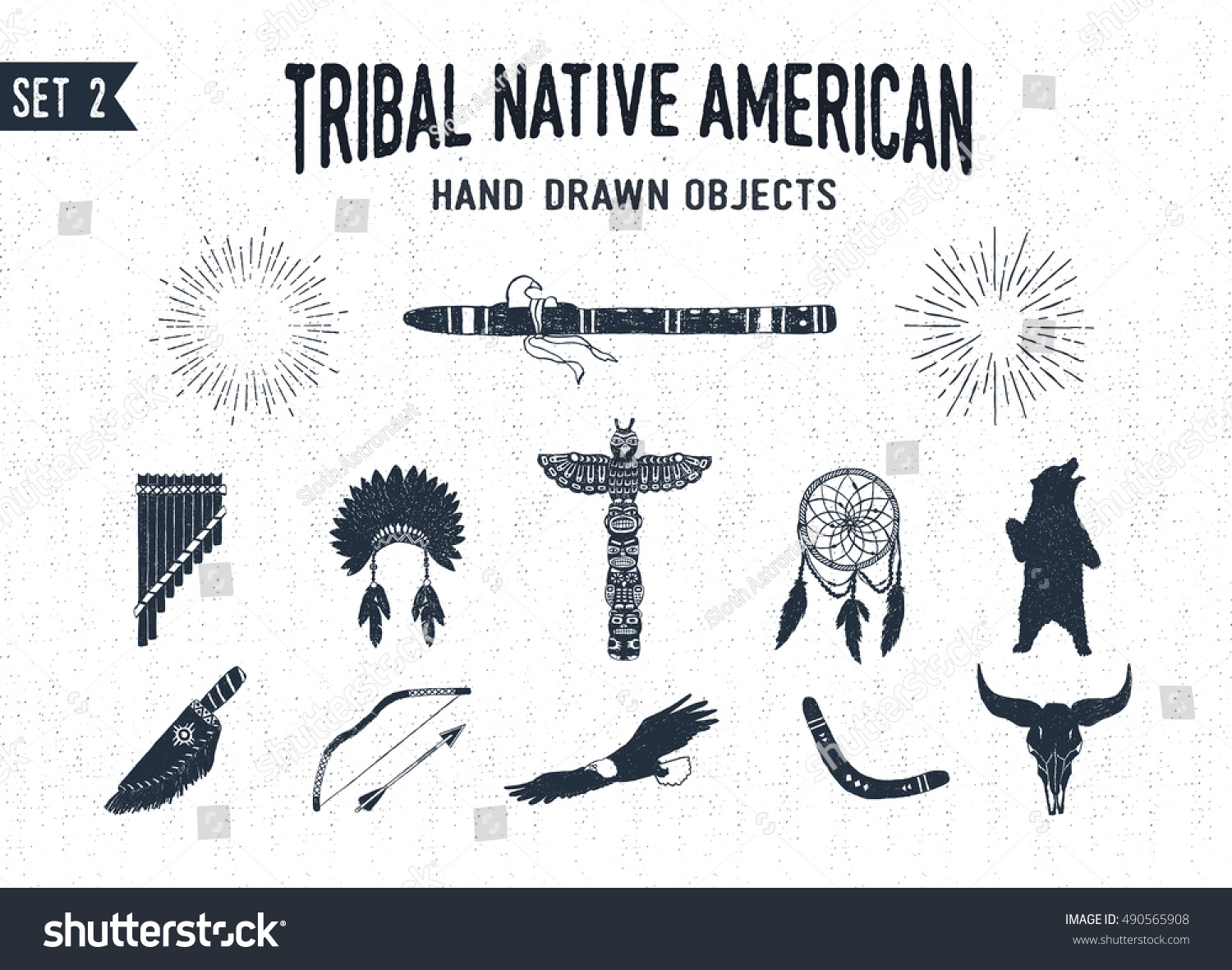 Hand Drawn Tribal Icons Set Flutes Stock Vector Royalty Free