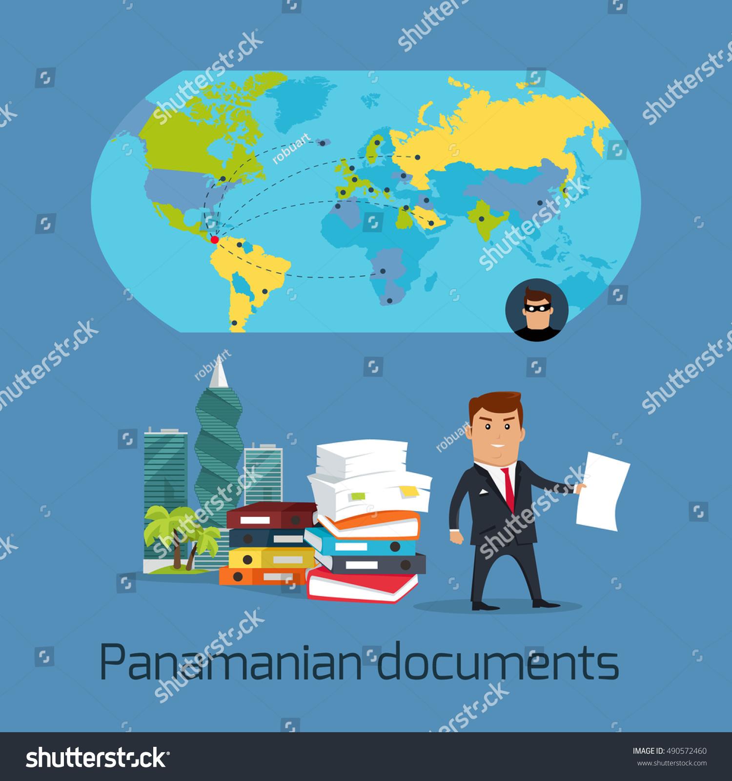 Panamanian documents concept vector flat design stock vector panamanian documents concept vector flat design financial fraud tax evasion money laundering buycottarizona Images