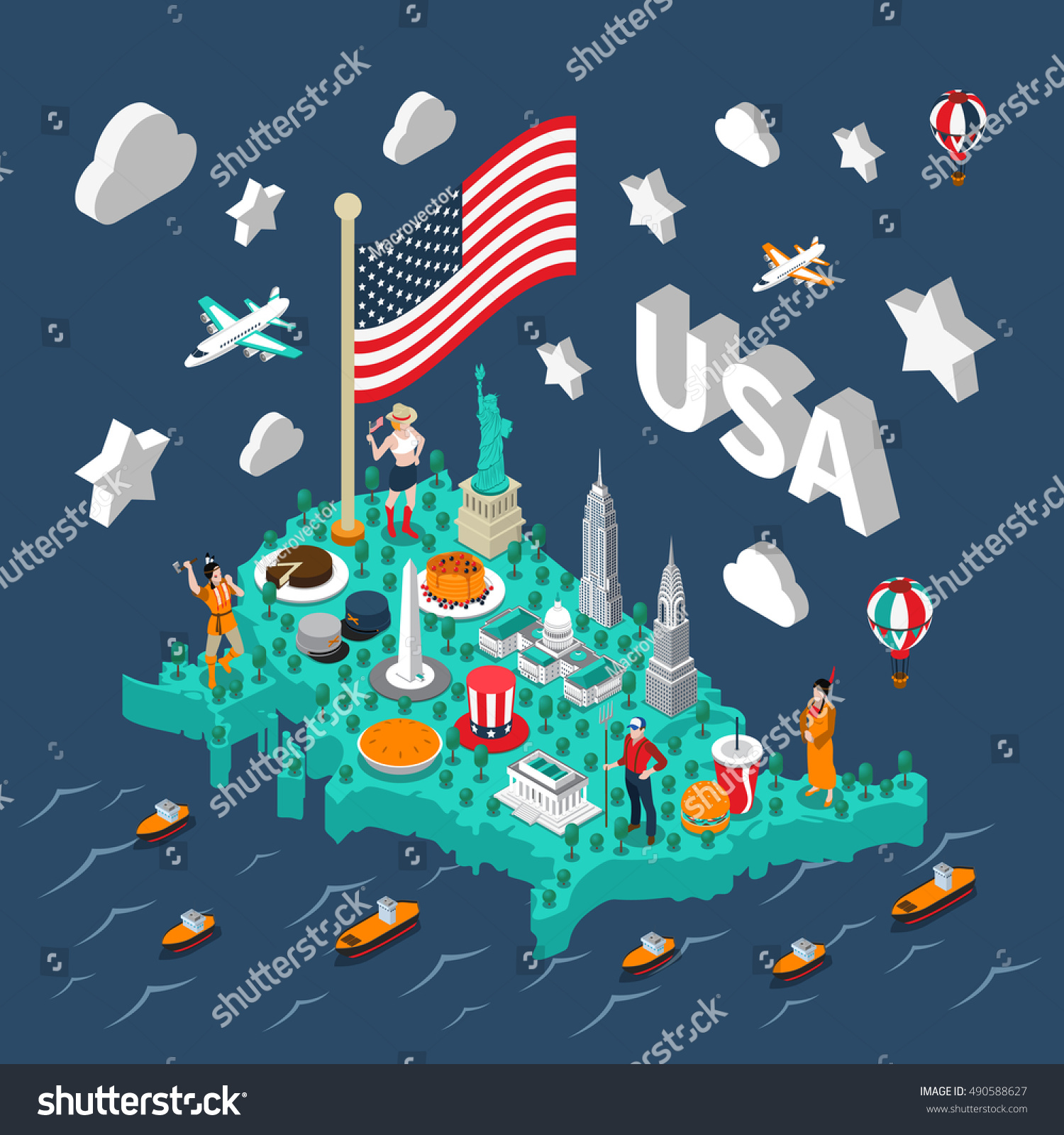 Usa Isometric Map Touristic Sights Transport Stock Vector