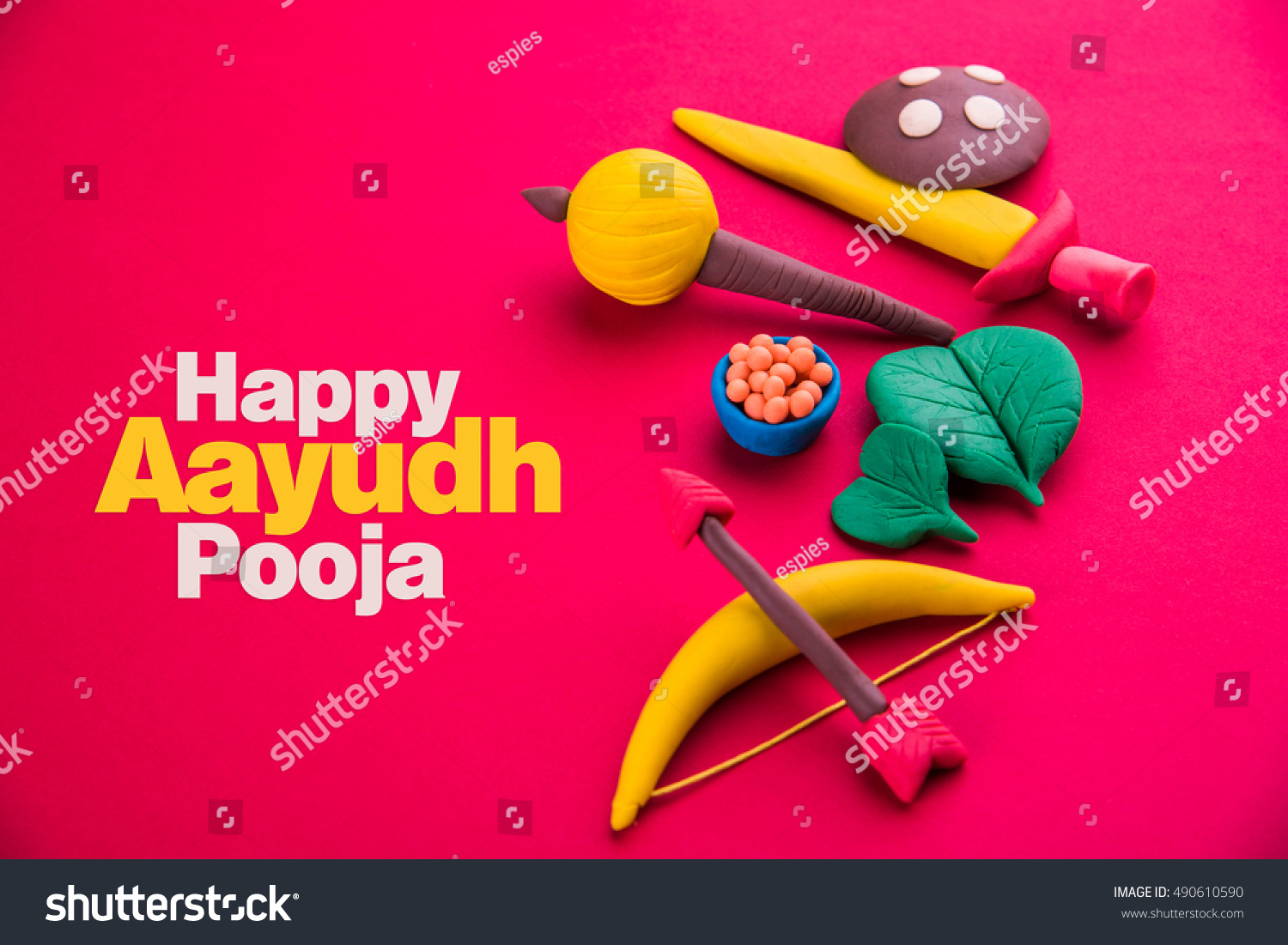 Happy Dussehra Ayudh Puja Greeting Card Stock Photo Edit Now