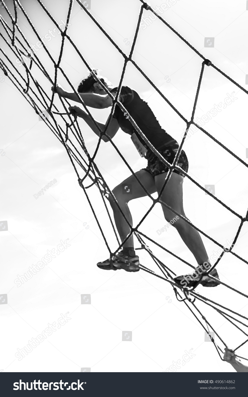 Illustration Girl Climbing Net Obstacle Course Stock Illustration ...