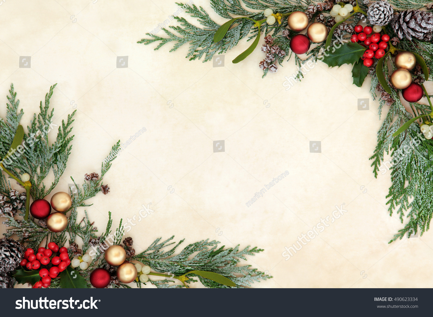 Christmas Decorative Background Border Red Gold Stock Photo Royalty Free 490623334