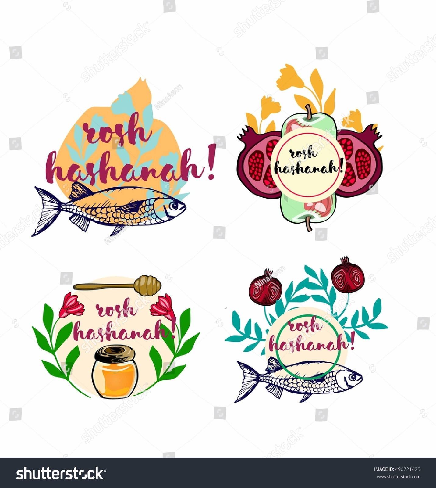 Pomegranatehoney Fish Greeting Card Vector Template Jewish Stock