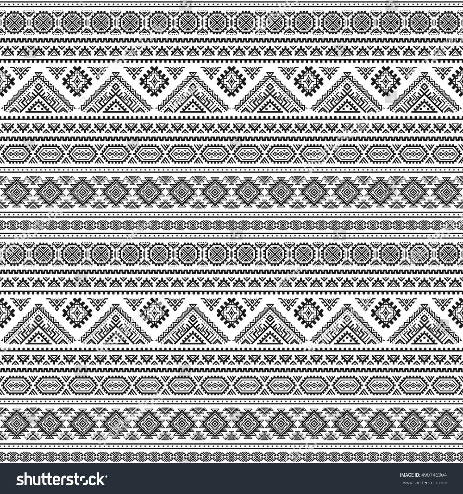 Background geometric mexican patterns seamless vector zigzag maya - Ethnic Seamless Monochrome Pattern Aztec Geometric Background Tribal Print Navajo Fabric Modern