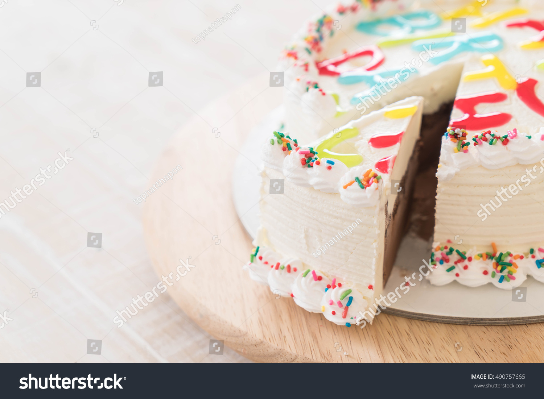 Happy Birthday Icecream Cake On Table Stock Photo Royalty Free