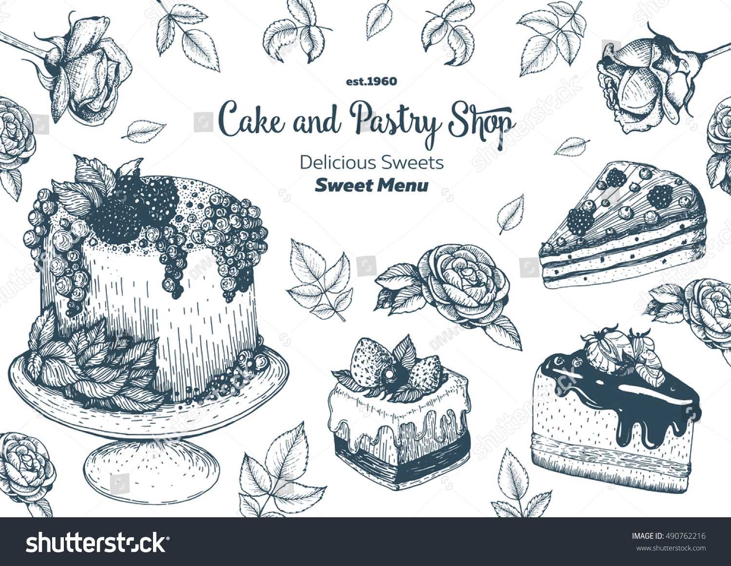 Vector Design Ink Hand Drawn Cake Stock Vector (Royalty Free ...