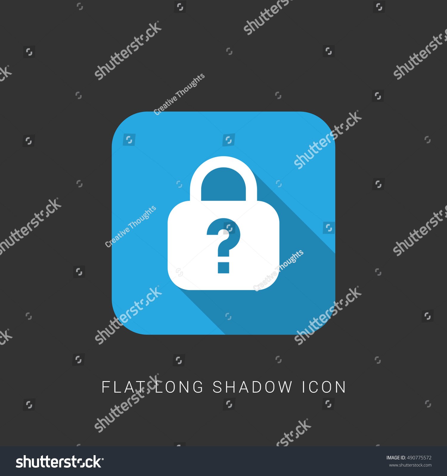 Forgot Password Flat Blue Long Shadow Stock Vector (Royalty Free
