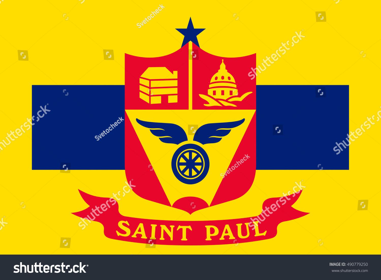 Flag Of Saint Paul Is The Capital City Of Minnesota State United
